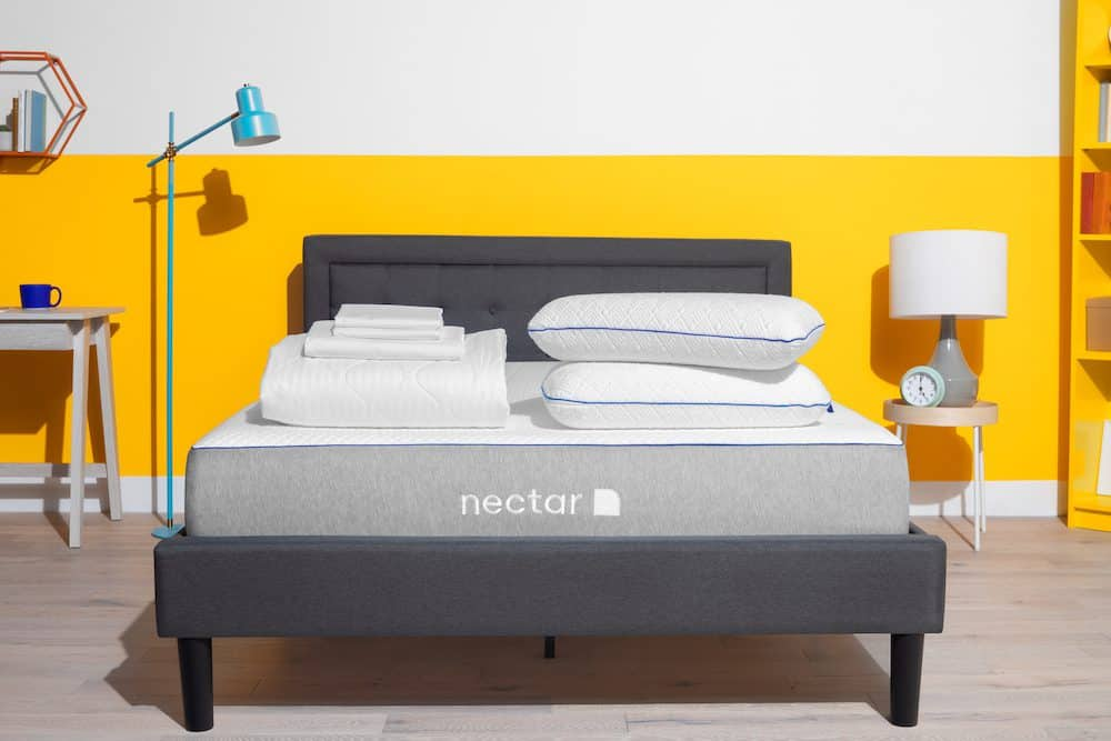 Nectar Mattress with bedframe, pillows, mattress protector and sheets