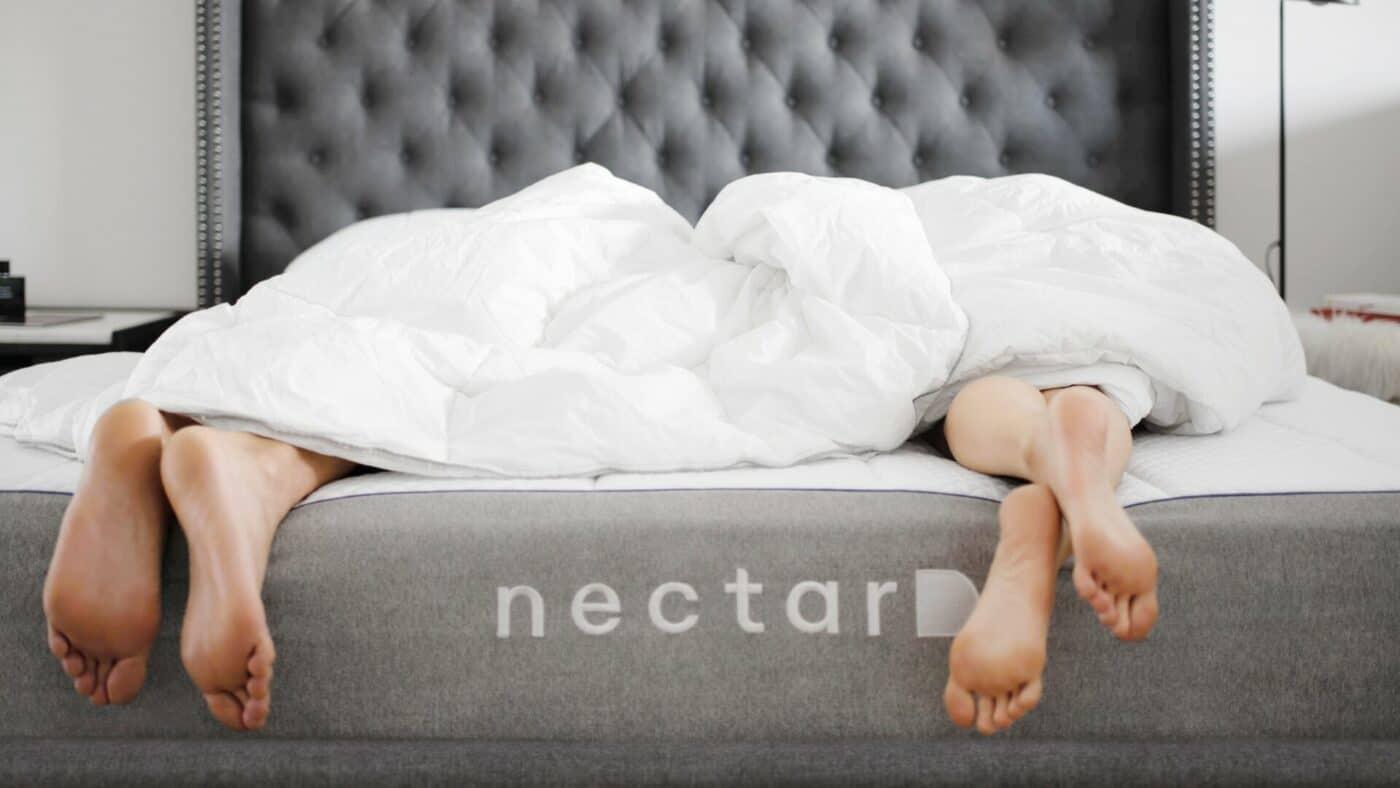 Nectar-best-mattress-for-sex-red-couple-feet-bed