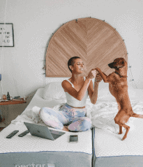A girl playing with her dog on bed