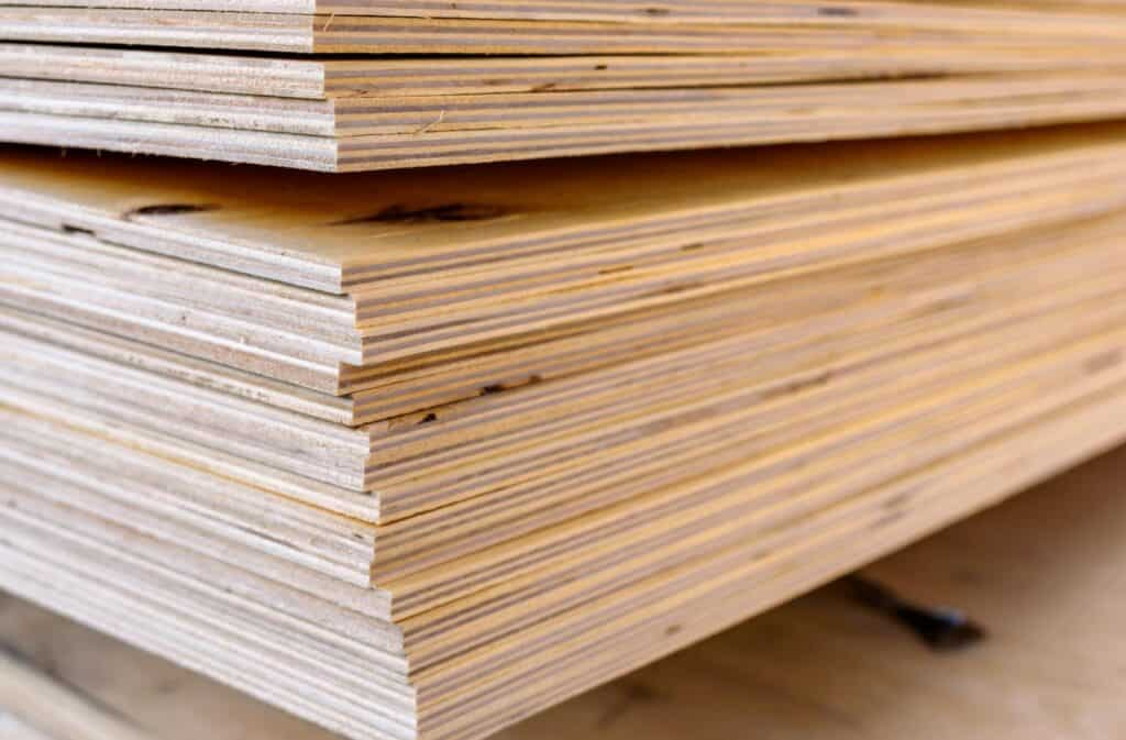 A stack of plywood boards
