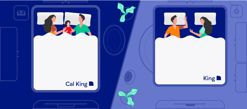 Two different families sleeping on a king bed and california king bed. Illustration