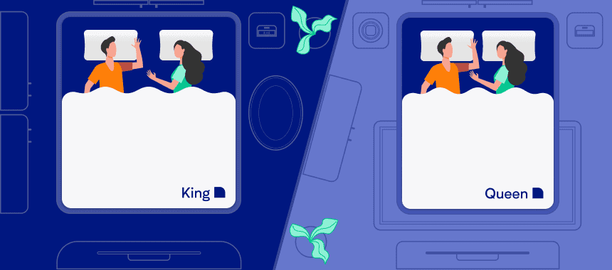 Two Different Families Sleeping on the King and Queen beds. Illustration