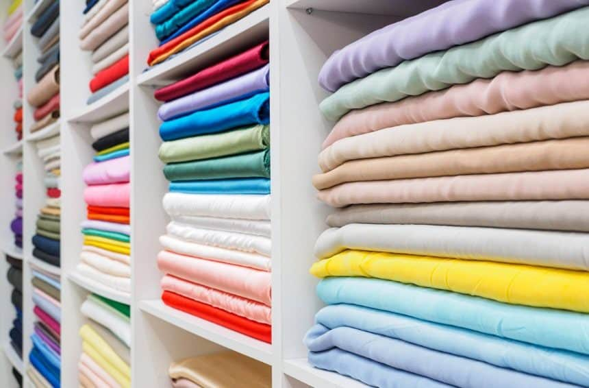 Collection of fashionable bright fabrics in close-up